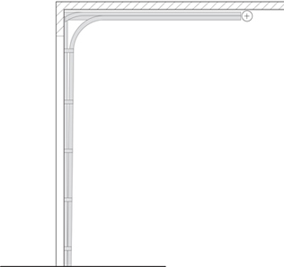 Commercial Garage Door Track Option - Low Headroom: Rear Mount
